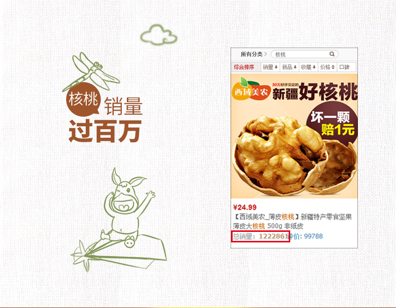 【西域美农_薄皮核桃250g*2袋】新疆特产零食坚果核桃仁可选纸皮 热销商品 第8张