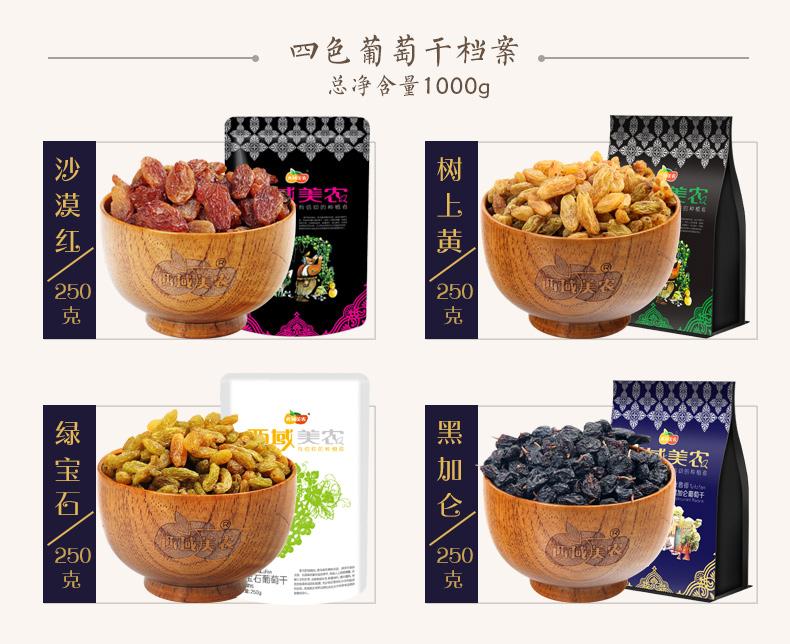【西域美农_四色葡萄干250g*4】零食大礼包吐鲁番大葡萄干提子 热销商品 第4张